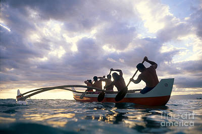 Men Paddle Into Sunset Art Print by Vince Cavataio - Printscapes