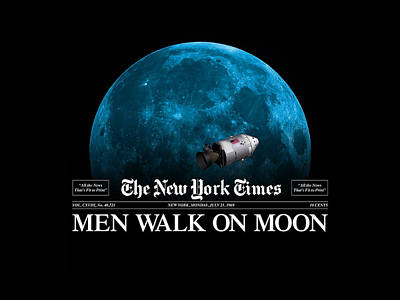 Painting - Men Walk On Moon by Gary Grayson