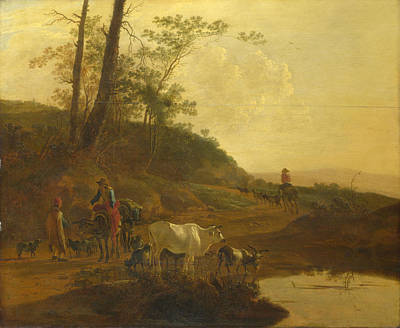 Men With An Ox And Cattle By A Pool Art Print