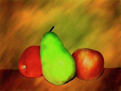 Pear Digital Art - Menage A Troi by Kurt Van Wagner