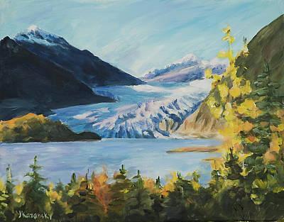 Painting - Mendenhall Glacier Juneau Alaska by Yulia Kazansky