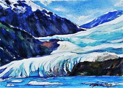 Mendenhall Glacier Painting - Mendenhall Glacier Upclose In May by Therese Fowler-Bailey