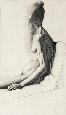 Nude Old Men Drawing - Mendiant Hindou by Georges Seurat