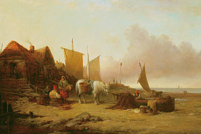Repairing Painting - Mending Nets by William Shayer