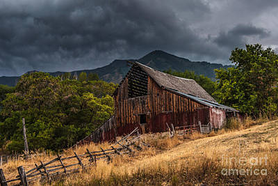 Mendon Utah Barn In Storm Art Print by Gary Whitton