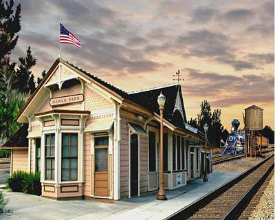 Painting - Menlo Park Station by Ron Chambers
