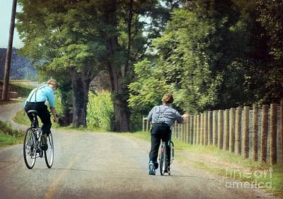 Photograph - Mennonite Boys Summer Bike Ride by Beth Ferris Sale