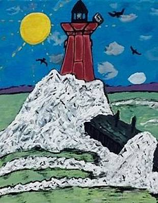 Painting - Menominee Lighthouse Blanketed By Ice Shoves by Jonathon Hansen