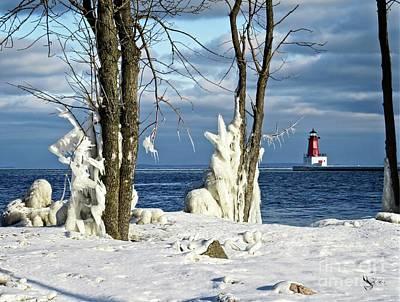 Menominee Lighthouse Ice Sculptures Art Print