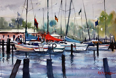 Sailboat Painting - Menominee Marina by Ryan Radke