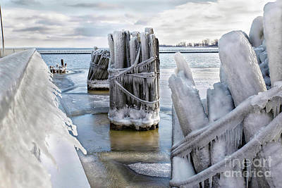 Nikki Vig Royalty-Free and Rights-Managed Images - Menominee Michigan Ice Covered Pier by Nikki Vig