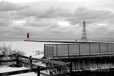 Photograph - Menominee North Pier Lighthouse On Ice by Mark J Seefeldt
