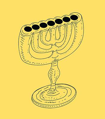 Drawing - Menorah 1 by Robert Watson