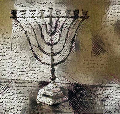 Photograph - Menorah And Script by Nina Silver