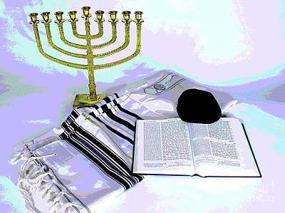Photograph - Menorah And Tallit by Larry Oskin