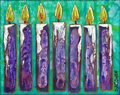 Menorah In Purple  Original by Deb Cohen