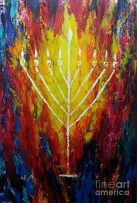 Painting - Chabad Menorah by Miriam Shaw