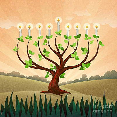 Digital Art - Menorah Tree by Bedros Awak