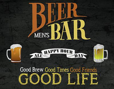 Bat Cave Mixed Media - Men's Beer Bar by Marilu Windvand