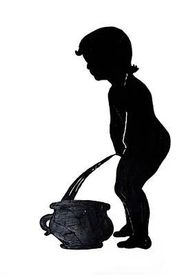 Mens Room Sign Silhouette Art Print
