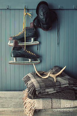 Photograph - Men's Vintage Skates  Hanging On Hooks by Sandra Cunningham