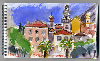 Architectur Painting - Menton  French Riviera by Chevassus-agnes Jean-pierre