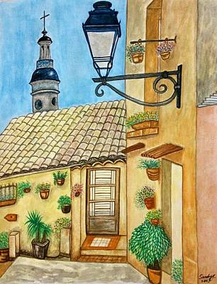 Travel Painting - Menton In Southern France by Jo lan Tao