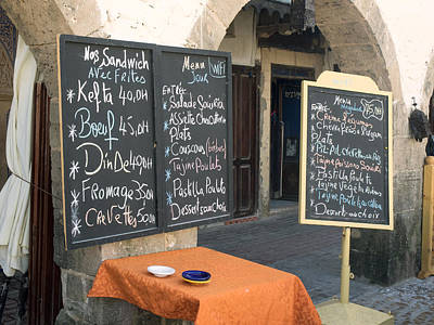 Essaouira Photograph - Menu Boards In A Square Of Avenue by Panoramic Images