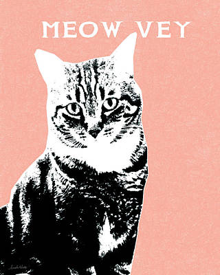 Digital Art Rights Managed Images - Meow Vey- Art by Linda Woods Royalty-Free Image by Linda Woods