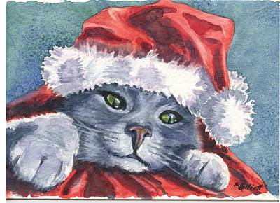 Meowy Christmas Art Print by Marsha Elliott