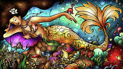 Crawfish Painting - Mer De Lis by Mandie Manzano
