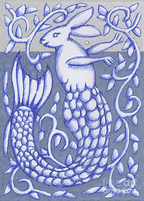 Drawing - Mer Rabbit 2017 by Donna Huntriss