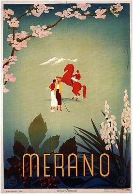 Tennis Mixed Media - Merano - Italy - Retro Travel Poster - Vintage Poster by Studio Grafiikka