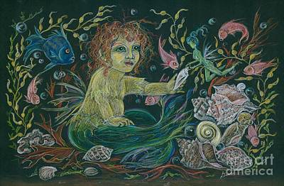 Drawing - Merbaby Golden Green by Dawn Fairies