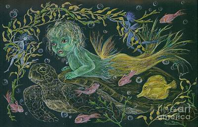 Drawing - Merbaby Green by Dawn Fairies