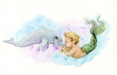 Painting - Merboy Kiss by Lauren Heller