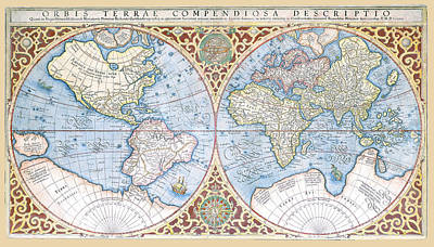 Photograph - Mercator 1587 World Map 2 by C H Apperson