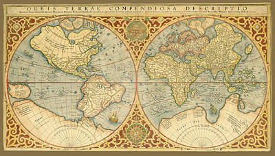Photograph - Mercator 1587 World Map by C H Apperson