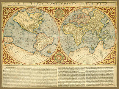 Photograph - Mercator 1587 World Map With Text by C H Apperson