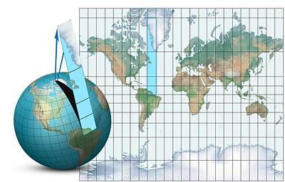 Mercator Map Projection, Diagram Art Print by Claus Lunau