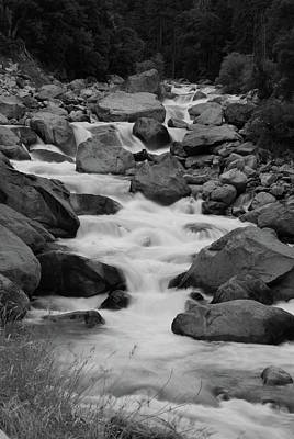 Photograph - Merced Rapids Bw by Lawrence Pratt