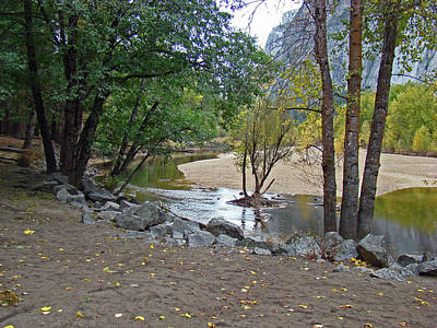 Photograph - Merced River Trickle - Fall 2012 by Walter Fahmy