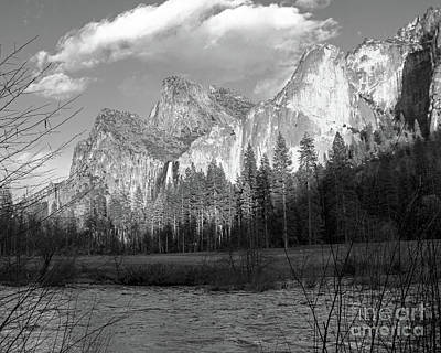 Photograph - Merced River Yosemite Bw by Cheryl Del Toro
