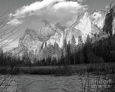 Photograph - Merced River Yosemite Bw by Cheryl Del Toro