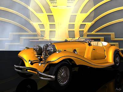 Digital Art - Mercedes 1936 by John Pangia