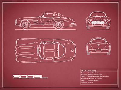 Mercedes 300 Sl Blueprint - Red Art Print by Mark Rogan