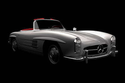 Digital Art - Mercedes 300 Sl Roadster by David Marchal