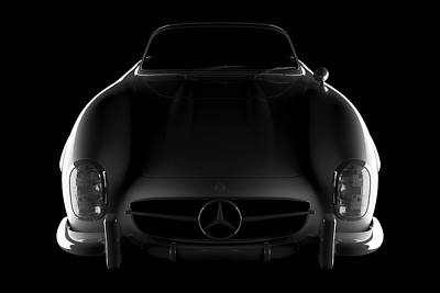 Digital Art - Mercedes 300 Sl Roadster - Front View by David Marchal