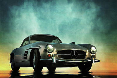 Sixties Painting - Mercedes 300sl by Jan Keteleer