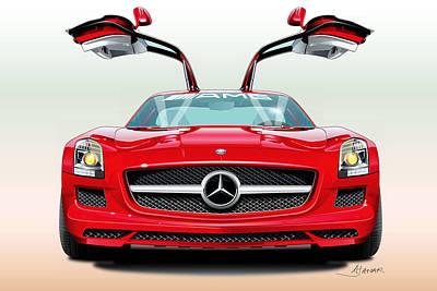 Cal Drawing - Mercedes Amg Sls by Alain Jamar